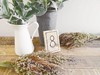 Small Wooden Table Numbers, Wildflowers and Faux Lambs Ear's Hollow Furniture