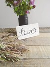 White Washed Scripted Table Numbers with Wildflowers Hollow Furniture