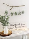 Scripted Wooden Sign and Faux Leaf Garland Hollow Furniture
