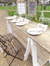 Trestle Table with White Washed, Scripted Table Numbers Hollow Furniture