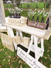 White Washed Trestle Table, Scripted Wooden Signs and Table Numbers Hollow Furniture