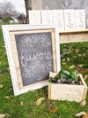 Rustic Framed Chalk Board Sign and Magnolia Leaves in a Wooden Box Hollow Furniture