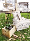 Wooden Staking Crates with Scripted Hanging Signs Hollow Furniture