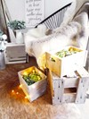Rustic Wooden Stacking Crates Filled with Olive Leaf Confetti Hollow Furniture