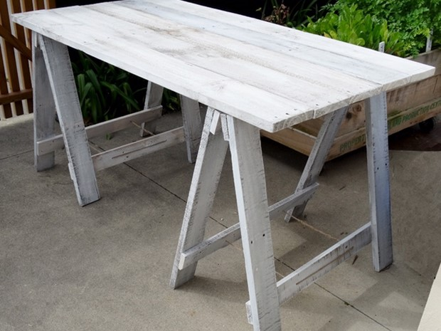 Photo of Reclaimed Wooden Trestle Desk